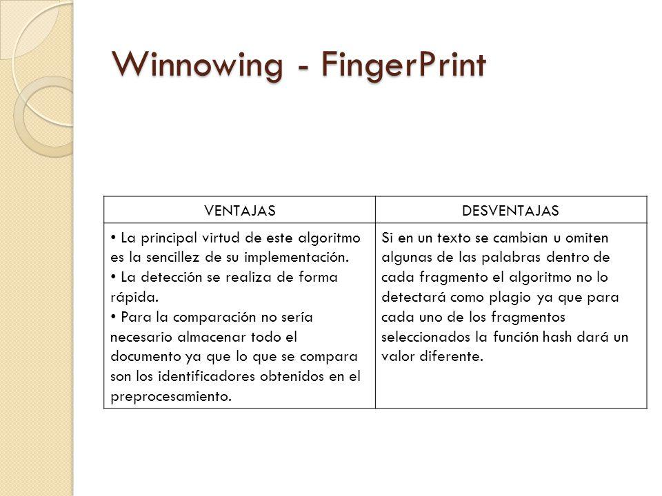Winnowing - FingerPrint VENTAJASDESVENTAJAS La principal virtud de este algoritmo es la sencillez de su implementación.