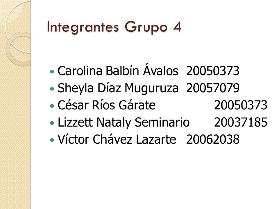 Integrantes Grupo 4 Carolina Balbín Ávalos 20050373 Sheyla Díaz Muguruza 20057079 César Ríos Gárate 20050373 Lizzett Nataly Seminario20037185 Víctor Chávez Lazarte 20062038