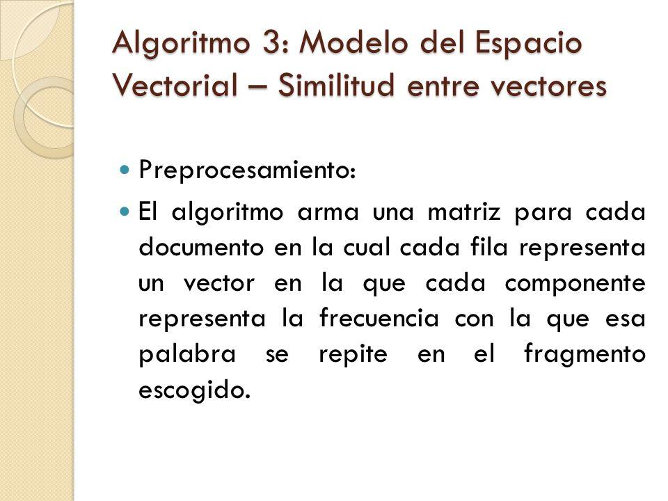 Algoritmo 3: Modelo del Espacio Vectorial – Similitud entre vectores Preprocesamiento: El algoritmo arma una matriz para cada documento en la cual cada fila representa un vector en la que cada componente representa la frecuencia con la que esa palabra se repite en el fragmento escogido.