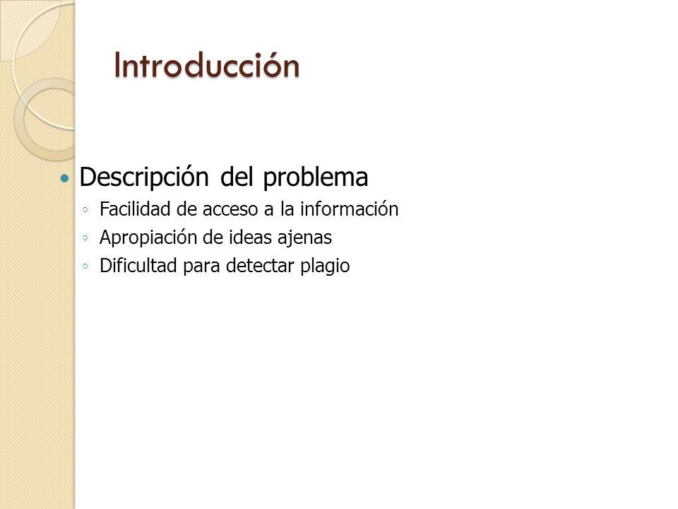 Introducción Descripción del problema Facilidad de acceso a la información Apropiación de ideas ajenas Dificultad para detectar plagio