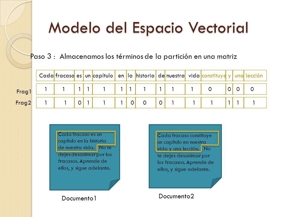 Paso 3 : Almacenamos los términos de la partición en una matriz Frag1 Frag2 Cada fracaso es un capítulo en la historia de nuestra vida constituye y una lección 1 1 0 1 1 1 0 0 0 1 1 1 1 1 1 1 1 1 1 1 1 1 1 1 1 1 0 0 0 0 Cada fracaso es un capítulo en la historia de nuestra vida.
