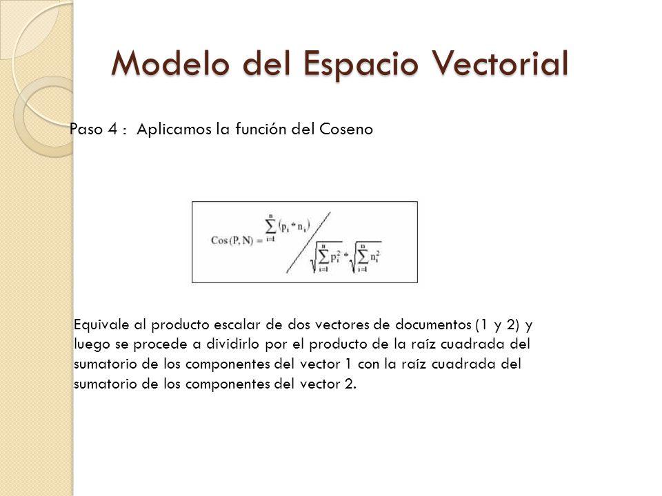Paso 4 : Aplicamos la función del Coseno Equivale al producto escalar de dos vectores de documentos (1 y 2) y luego se procede a dividirlo por el producto de la raíz cuadrada del sumatorio de los componentes del vector 1 con la raíz cuadrada del sumatorio de los componentes del vector 2.