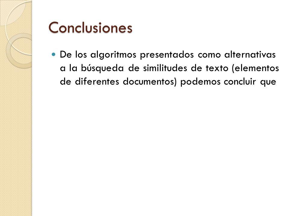 Conclusiones De los algoritmos presentados como alternativas a la búsqueda de similitudes de texto (elementos de diferentes documentos) podemos concluir que