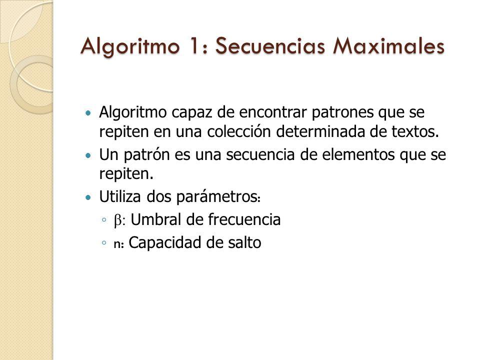 Algoritmo 1: Secuencias Maximales Algoritmo capaz de encontrar patrones que se repiten en una colección determinada de textos.
