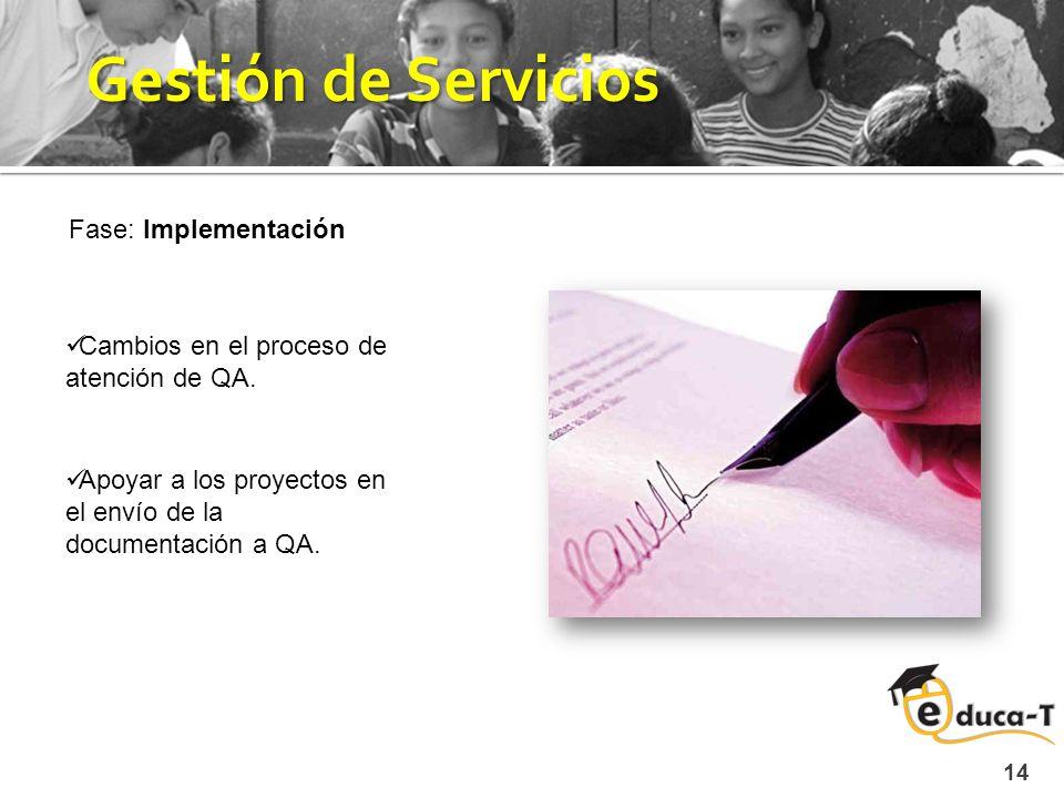 14 Gestión de Servicios Fase: Implementación Cambios en el proceso de atención de QA.