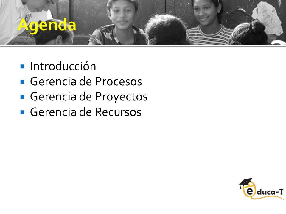 Agenda Introducción Gerencia de Procesos Gerencia de Proyectos Gerencia de Recursos
