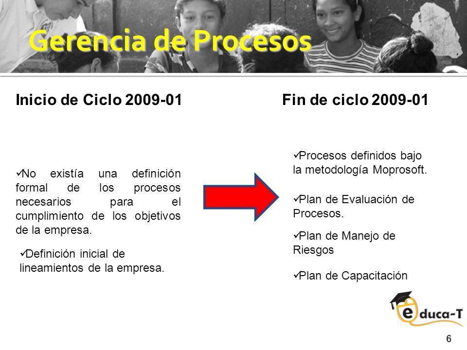 Gerencia de Procesos 6 No existía una definición formal de los procesos necesarios para el cumplimiento de los objetivos de la empresa.