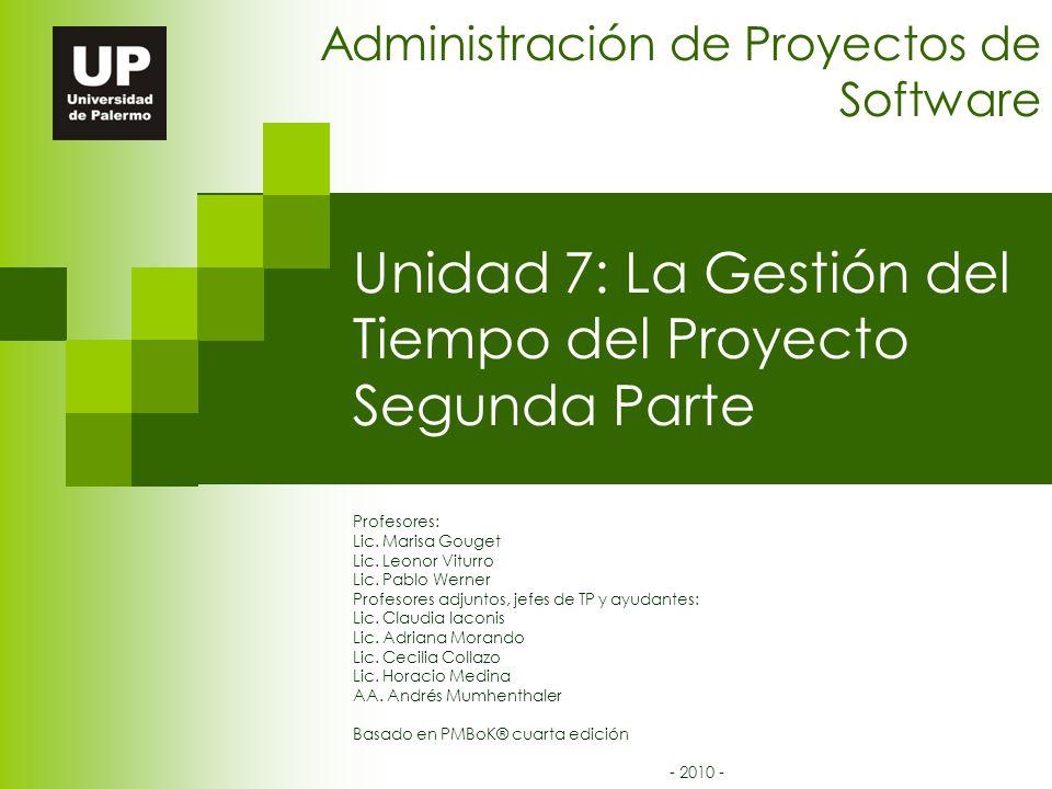 Unidad 7: La Gestión del Tiempo del Proyecto Segunda Parte Administración de Proyectos de Software Profesores: Lic.
