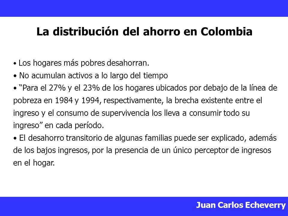 Juan Carlos Echeverry La distribución del ahorro en Colombia Los hogares más pobres desahorran.