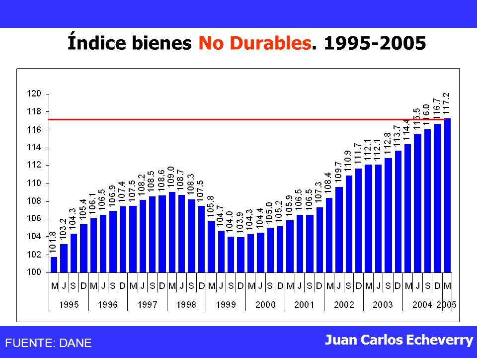 Juan Carlos Echeverry Índice bienes No Durables. 1995-2005 FUENTE: DANE