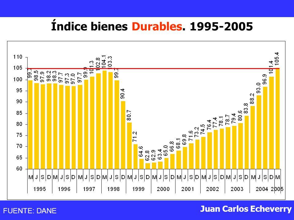 Juan Carlos Echeverry Índice bienes Durables. 1995-2005 FUENTE: DANE