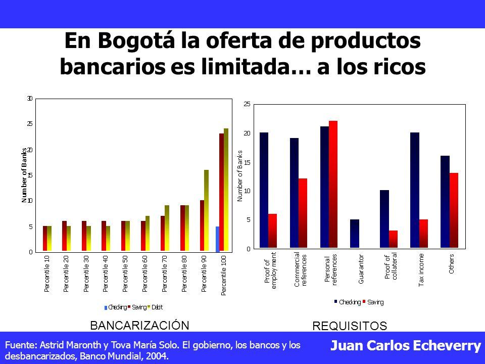 Juan Carlos Echeverry En Bogotá la oferta de productos bancarios es limitada… a los ricos Fuente: Astrid Maronth y Tova María Solo.
