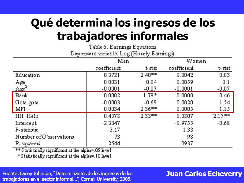 Juan Carlos Echeverry Fuente: Lacey Johnson, Determinantes de los ingresos de los trabajadores en el sector informal…, Cornell University, 2005.