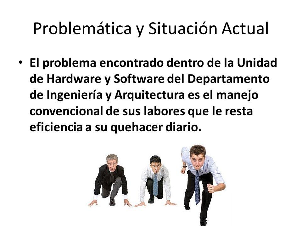 Problemática y Situación Actual El problema encontrado dentro de la Unidad de Hardware y Software del Departamento de Ingeniería y Arquitectura es el