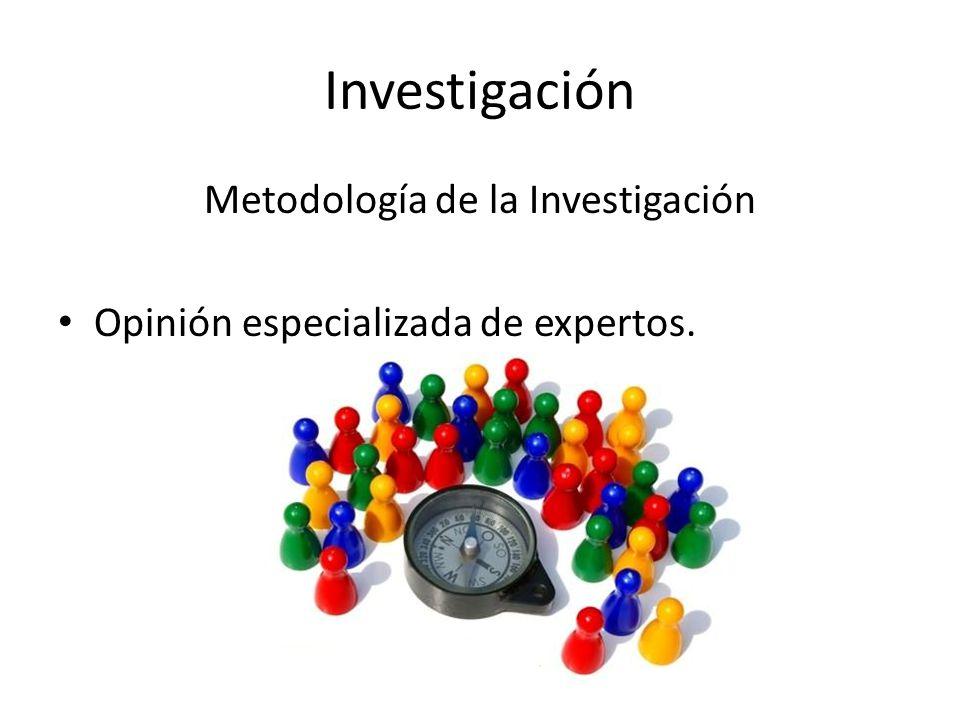 Investigación Metodología de la Investigación Opinión especializada de expertos.