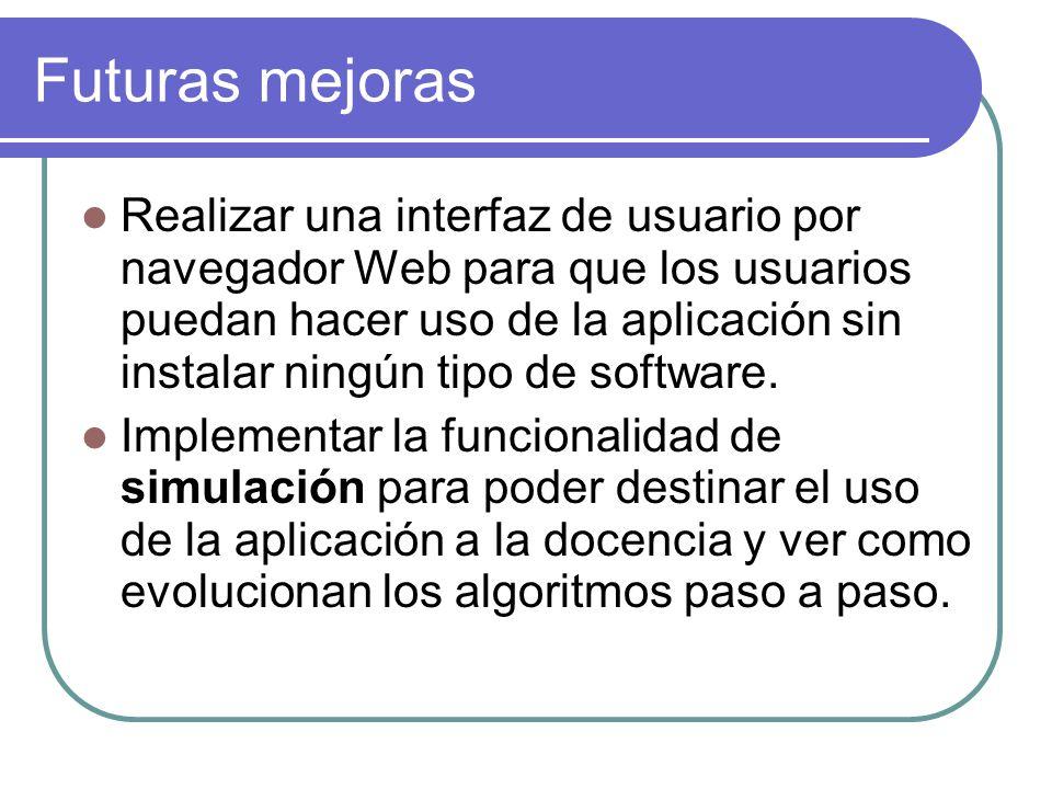 Futuras mejoras Realizar una interfaz de usuario por navegador Web para que los usuarios puedan hacer uso de la aplicación sin instalar ningún tipo de software.