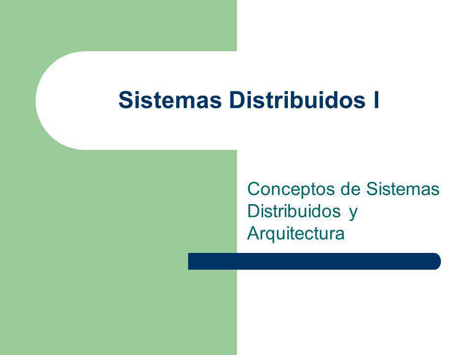Sistemas Distribuidos I Conceptos de Sistemas Distribuidos y Arquitectura
