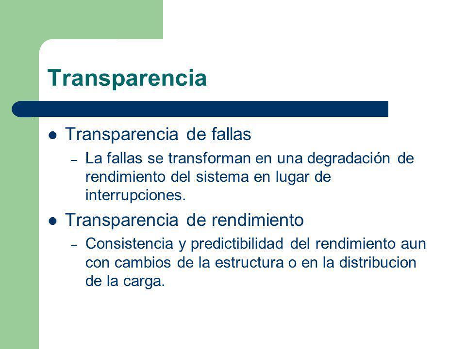 Transparencia Transparencia de fallas – La fallas se transforman en una degradación de rendimiento del sistema en lugar de interrupciones. Transparenc