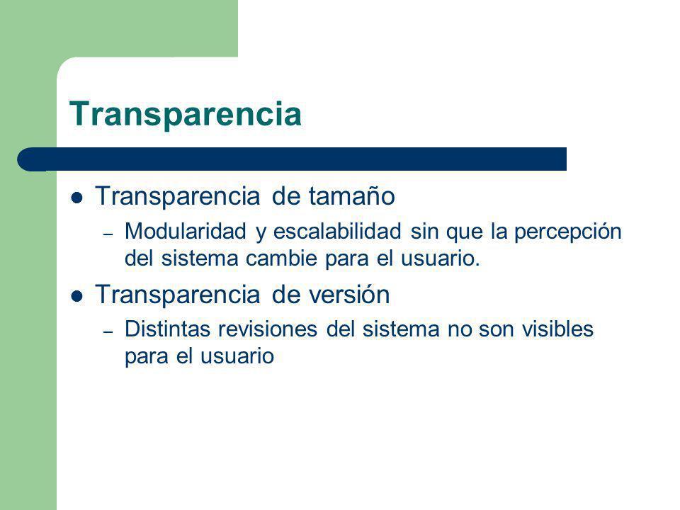 Transparencia Transparencia de tamaño – Modularidad y escalabilidad sin que la percepción del sistema cambie para el usuario. Transparencia de versión
