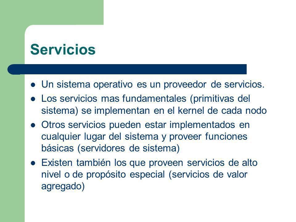 Servicios Un sistema operativo es un proveedor de servicios. Los servicios mas fundamentales (primitivas del sistema) se implementan en el kernel de c