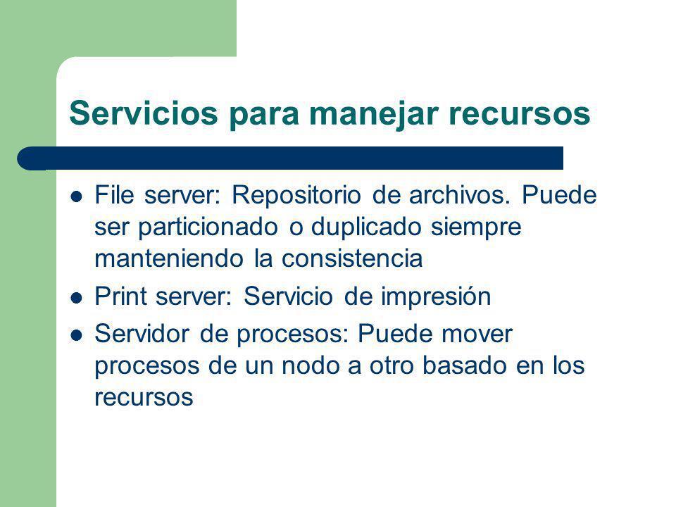 Servicios para manejar recursos File server: Repositorio de archivos. Puede ser particionado o duplicado siempre manteniendo la consistencia Print ser