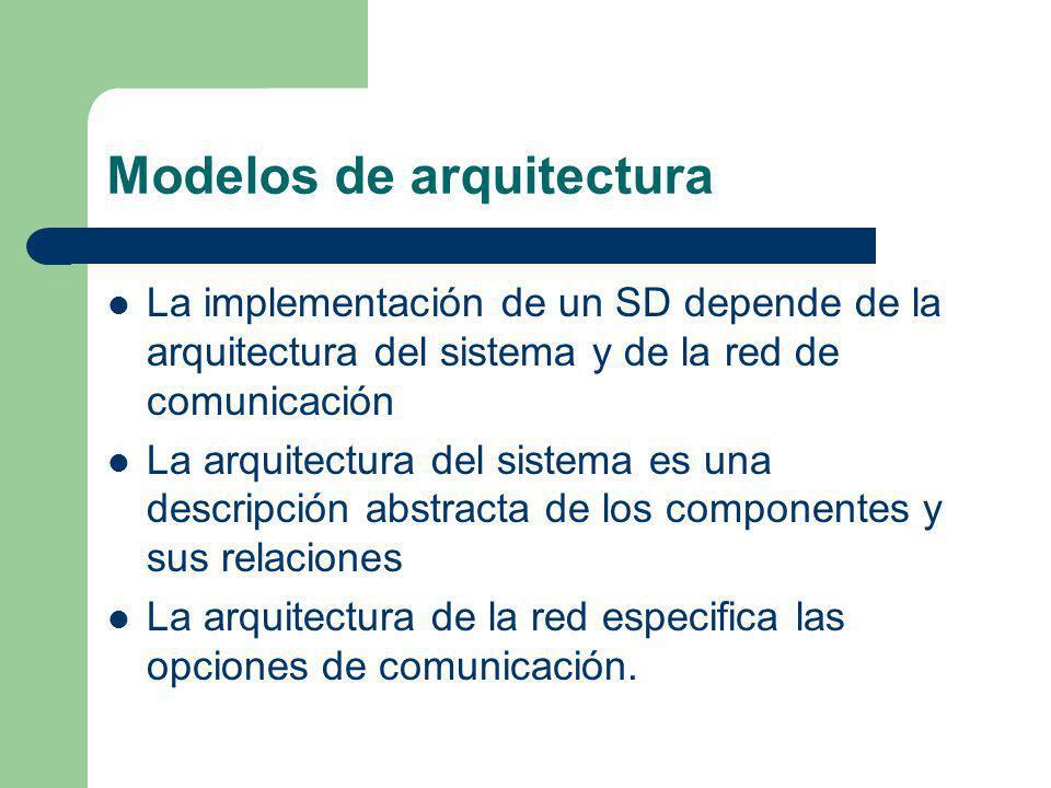 Modelos de arquitectura La implementación de un SD depende de la arquitectura del sistema y de la red de comunicación La arquitectura del sistema es u
