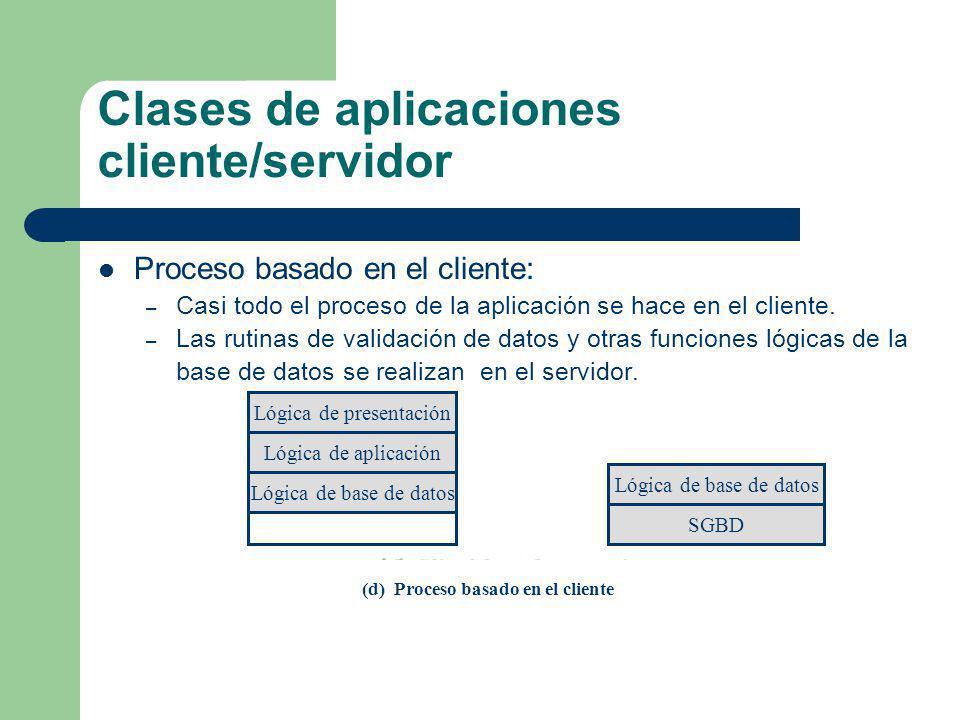 Clases de aplicaciones cliente/servidor Proceso basado en el cliente: – Casi todo el proceso de la aplicación se hace en el cliente. – Las rutinas de
