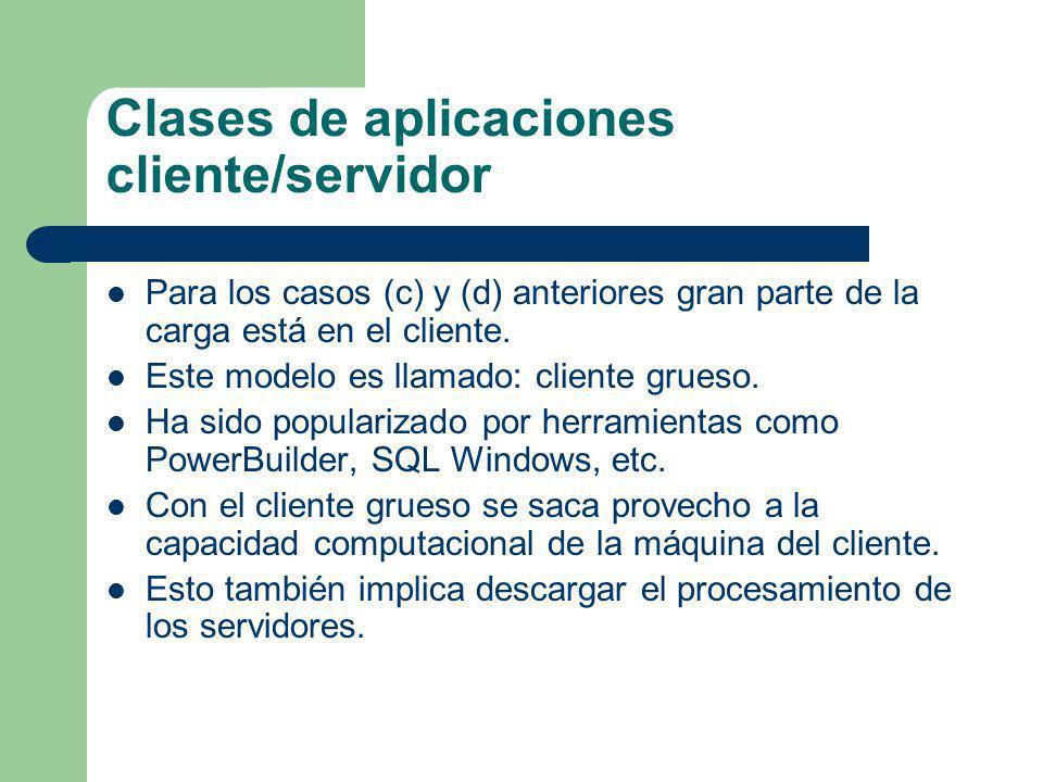 Clases de aplicaciones cliente/servidor Para los casos (c) y (d) anteriores gran parte de la carga está en el cliente. Este modelo es llamado: cliente