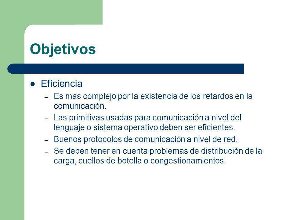 Objetivos Eficiencia – Es mas complejo por la existencia de los retardos en la comunicación. – Las primitivas usadas para comunicación a nivel del len