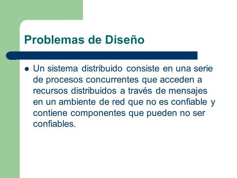 Problemas de Diseño Un sistema distribuido consiste en una serie de procesos concurrentes que acceden a recursos distribuidos a través de mensajes en