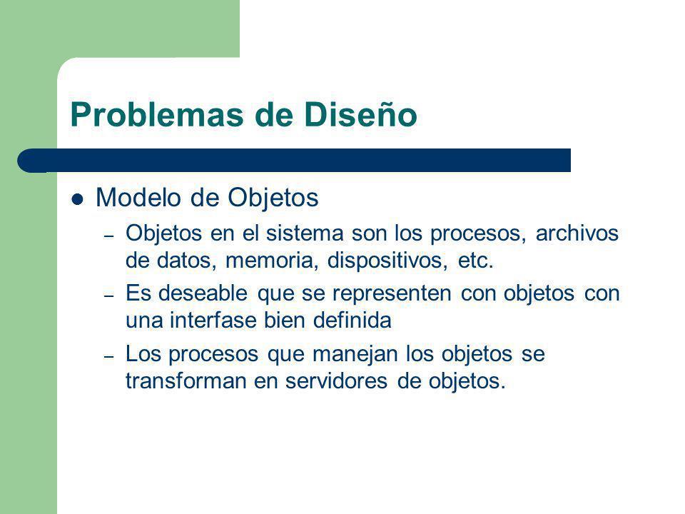 Problemas de Diseño Modelo de Objetos – Objetos en el sistema son los procesos, archivos de datos, memoria, dispositivos, etc. – Es deseable que se re
