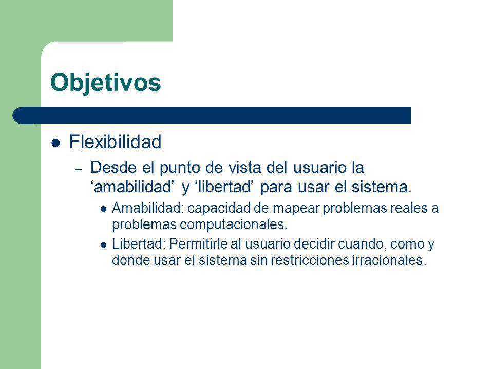 Objetivos Flexibilidad – Desde el punto de vista del usuario la amabilidad y libertad para usar el sistema. Amabilidad: capacidad de mapear problemas