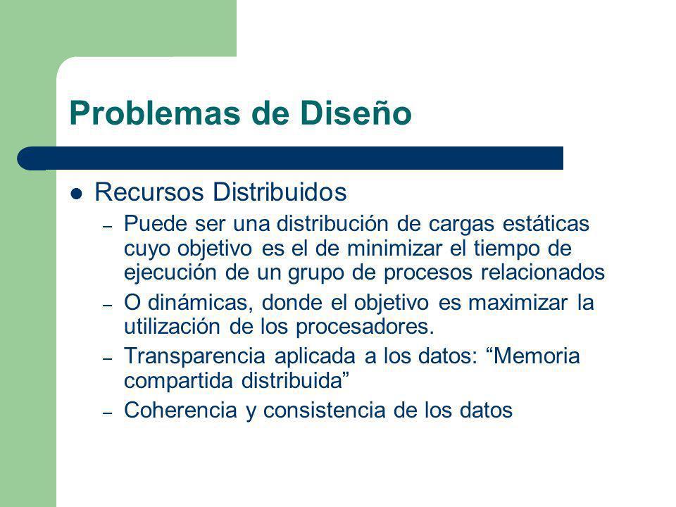 Problemas de Diseño Recursos Distribuidos – Puede ser una distribución de cargas estáticas cuyo objetivo es el de minimizar el tiempo de ejecución de