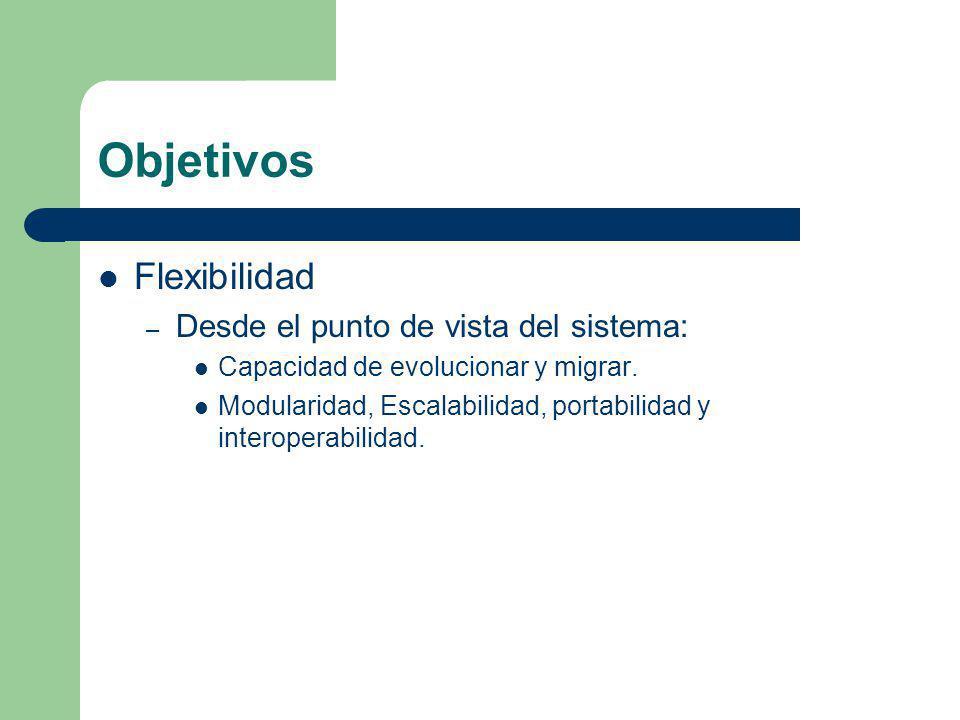 Objetivos Flexibilidad – Desde el punto de vista del sistema: Capacidad de evolucionar y migrar. Modularidad, Escalabilidad, portabilidad y interopera