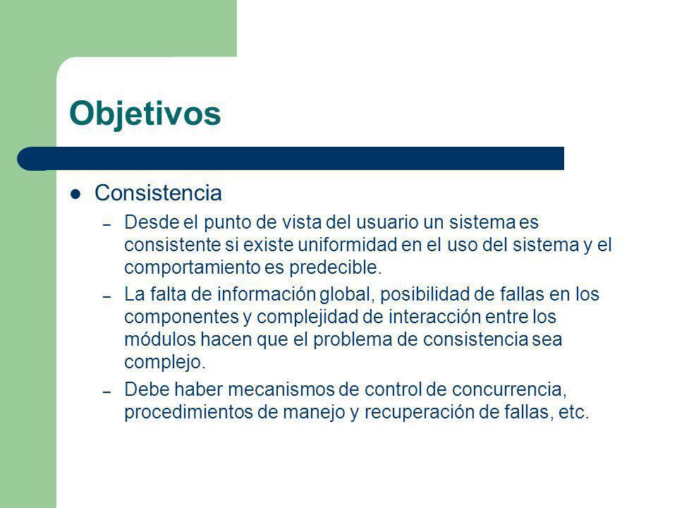 Objetivos Consistencia – Desde el punto de vista del usuario un sistema es consistente si existe uniformidad en el uso del sistema y el comportamiento