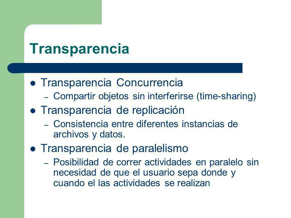 Transparencia Transparencia Concurrencia – Compartir objetos sin interferirse (time-sharing) Transparencia de replicación – Consistencia entre diferen