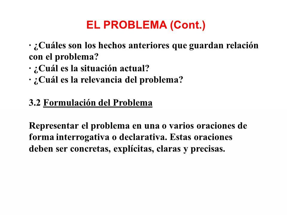 EL PROBLEMA (Cont.) · ¿Cuáles son los hechos anteriores que guardan relación con el problema? · ¿Cuál es la situación actual? · ¿Cuál es la relevancia