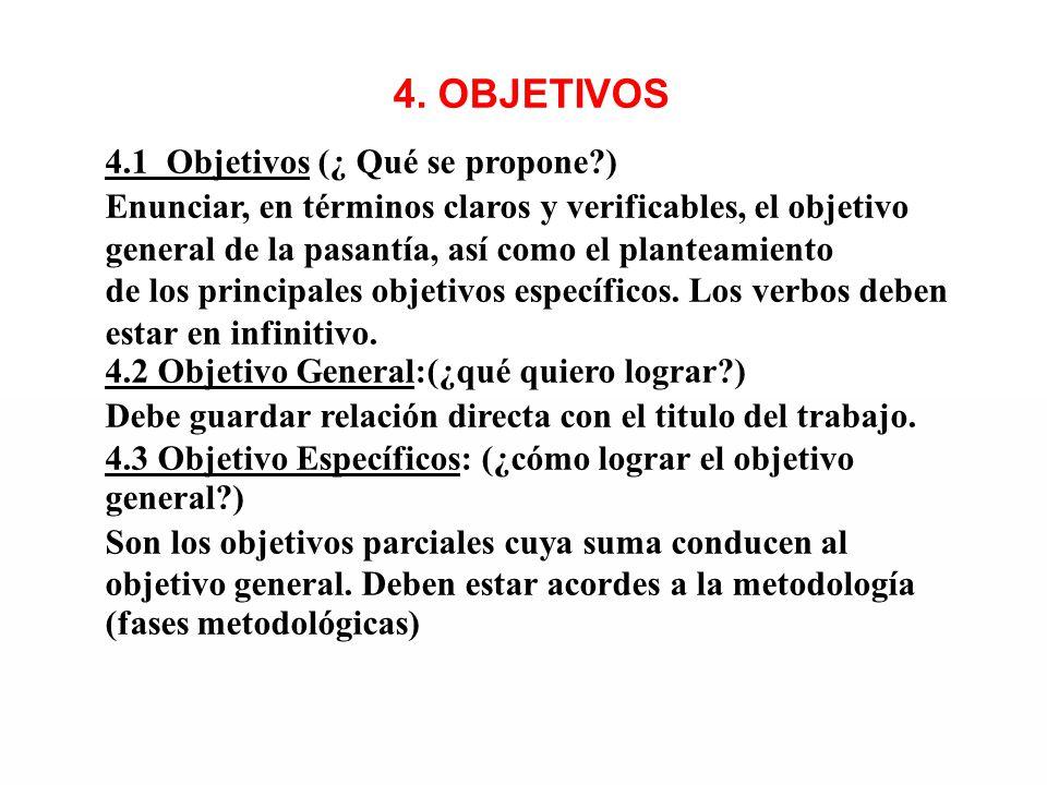 4. OBJETIVOS 4.1 Objetivos (¿ Qué se propone?) Enunciar, en términos claros y verificables, el objetivo general de la pasantía, así como el planteamie
