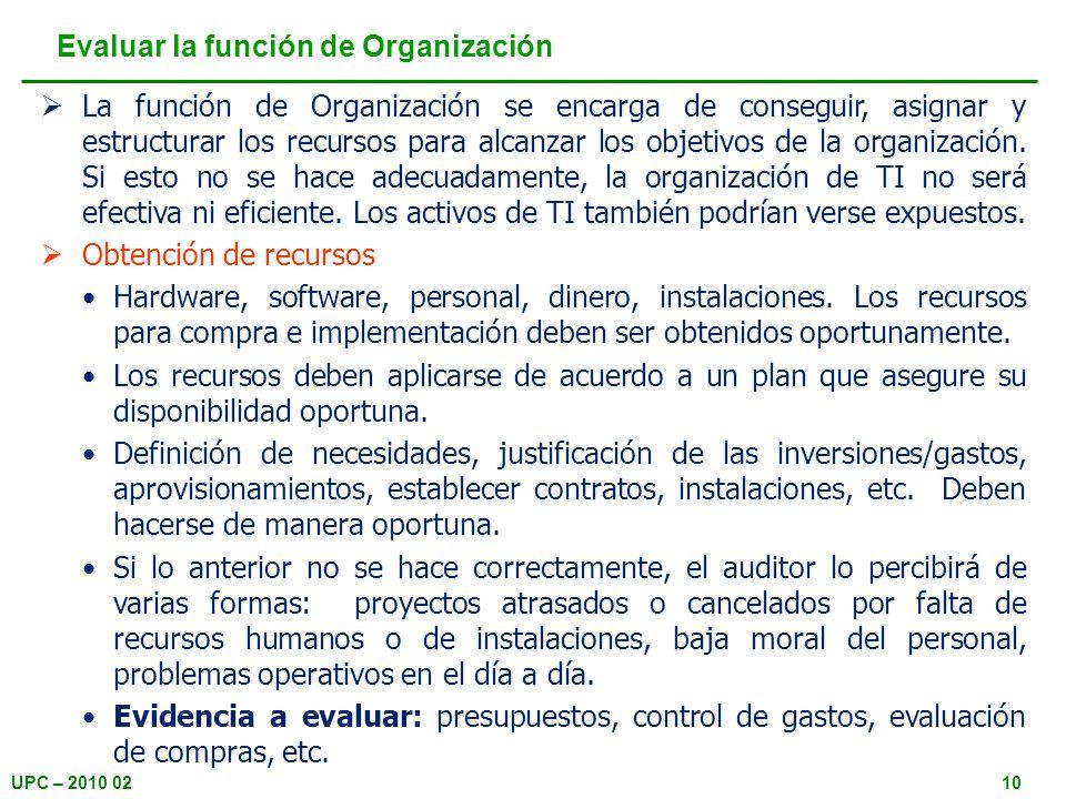 UPC – 2010 0210 La función de Organización se encarga de conseguir, asignar y estructurar los recursos para alcanzar los objetivos de la organización.