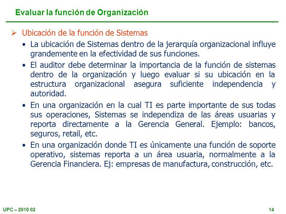 UPC – 2010 0214 Ubicación de la función de Sistemas La ubicación de Sistemas dentro de la jerarquía organizacional influye grandemente en la efectividad de sus funciones.