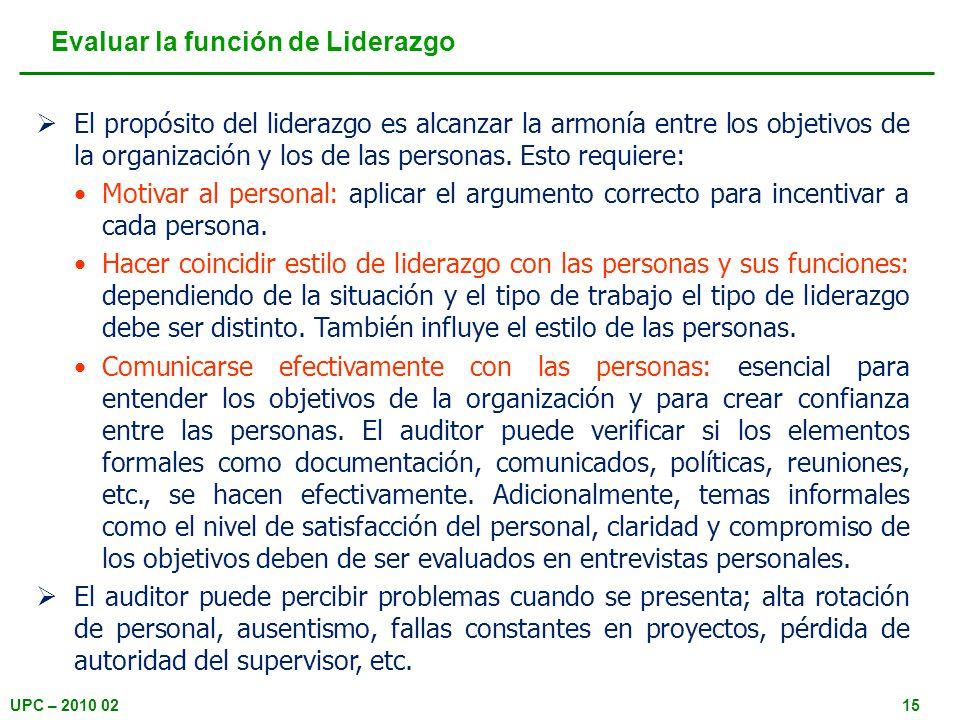 UPC – 2010 0215 Evaluar la función de Liderazgo El propósito del liderazgo es alcanzar la armonía entre los objetivos de la organización y los de las personas.