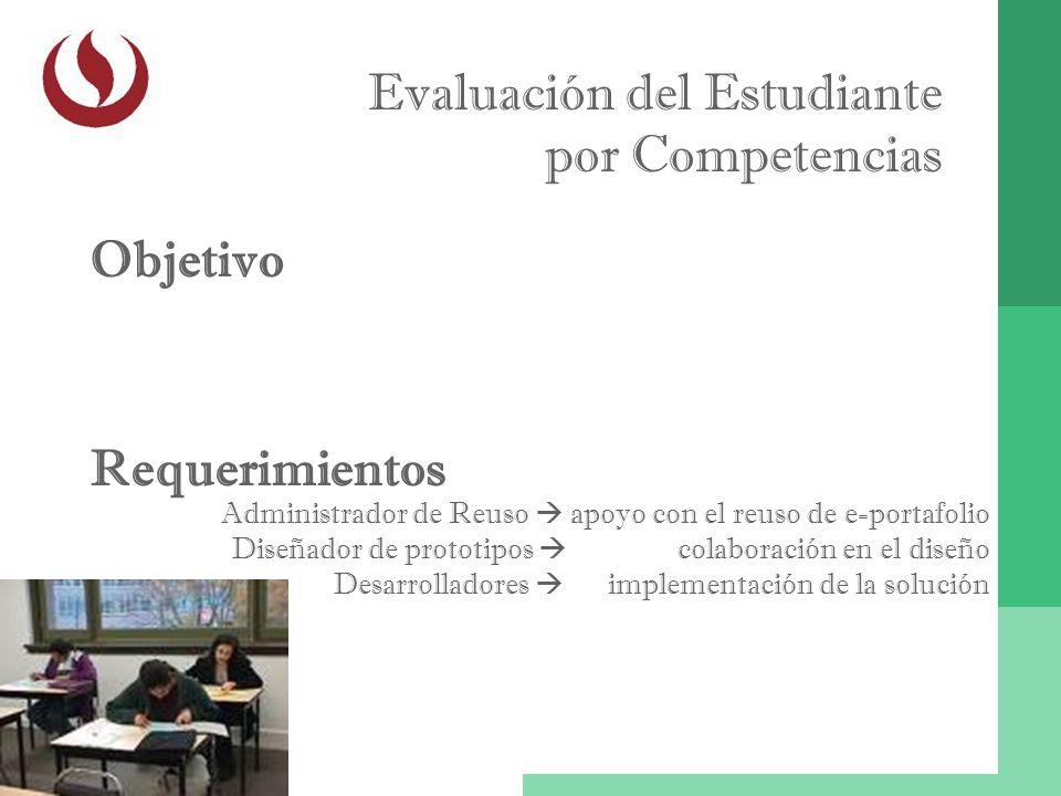 Evaluación del Estudiante por Competencias Objetivo Administrador de Reuso apoyo con el reuso de e-portafolio Diseñador de prototipos colaboración en
