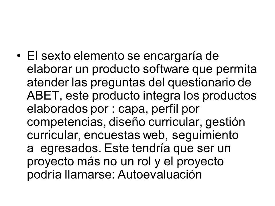 El sexto elemento se encargaría de elaborar un producto software que permita atender las preguntas del questionario de ABET, este producto integra los