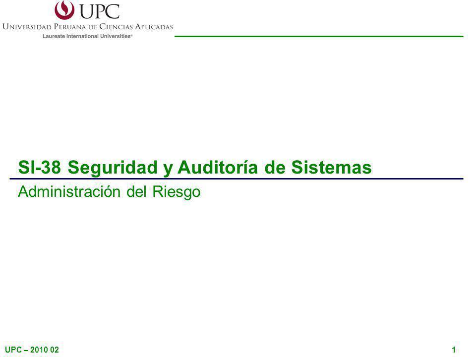UPC – 2010 021 SI-38 Seguridad y Auditoría de Sistemas Administración del Riesgo