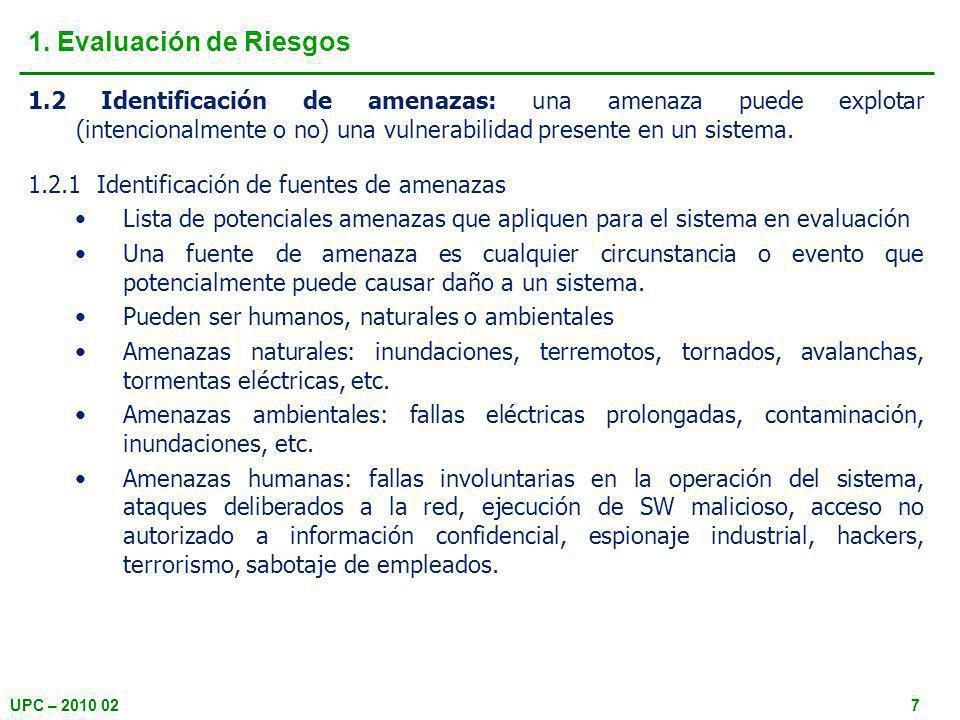 UPC – 2010 0218 2. Mitigación de riesgos