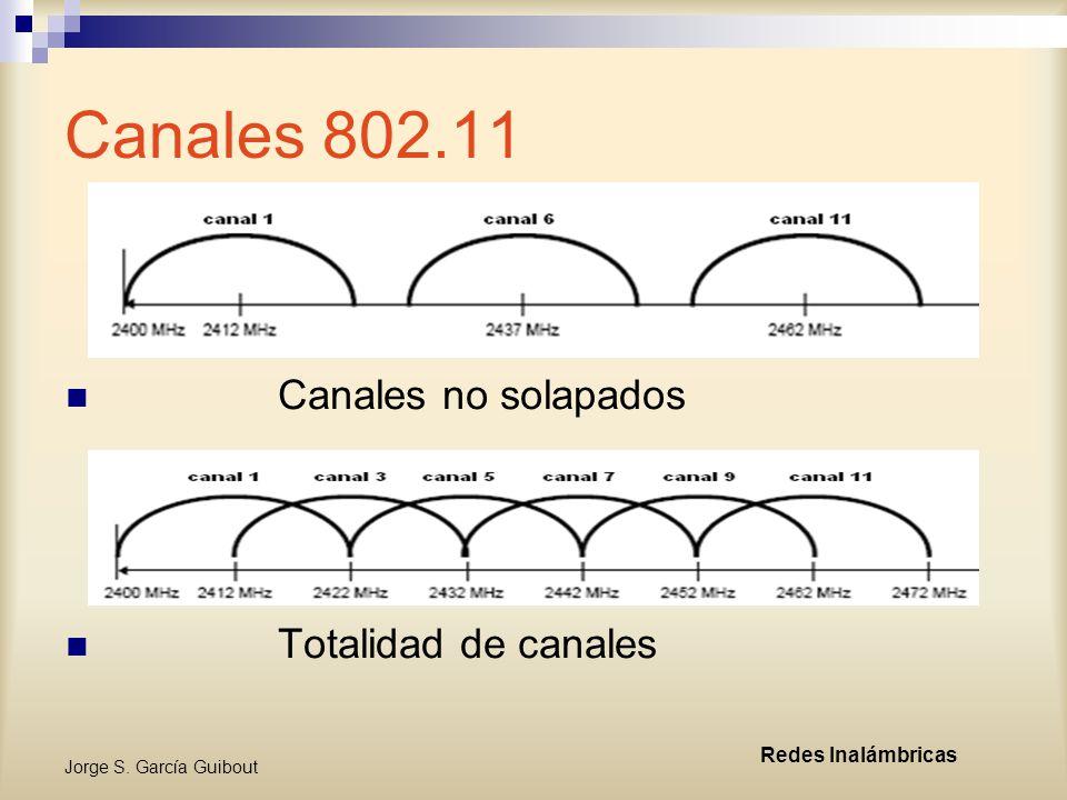 Jorge S. García Guibout Redes Inalámbricas Canales 802.11 Canales no solapados Totalidad de canales
