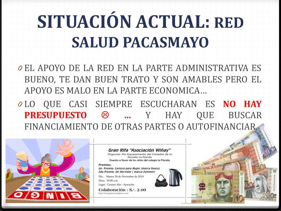 SITUACIÓN ACTUAL: RED SALUD PACASMAYO 0 EL APOYO DE LA RED EN LA PARTE ADMINISTRATIVA ES BUENO, TE DAN BUEN TRATO Y SON AMABLES PERO EL APOYO ES MALO