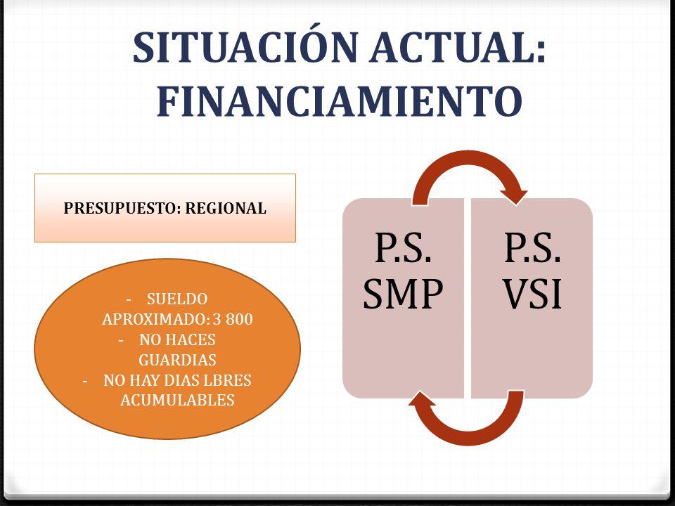 P.S. SMP P.S. VSI SITUACIÓN ACTUAL: FINANCIAMIENTO PRESUPUESTO: REGIONAL -SUELDO APROXIMADO: 3 800 -NO HACES GUARDIAS -NO HAY DIAS LBRES ACUMULABLES