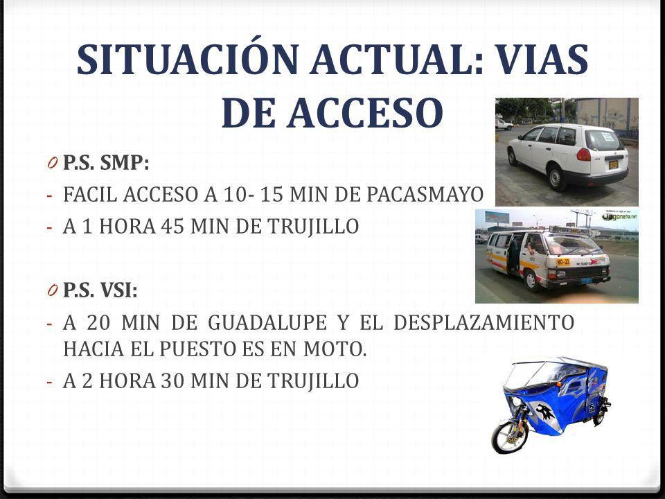 0 P.S. SMP: - FACIL ACCESO A 10- 15 MIN DE PACASMAYO - A 1 HORA 45 MIN DE TRUJILLO 0 P.S. VSI: - A 20 MIN DE GUADALUPE Y EL DESPLAZAMIENTO HACIA EL PU