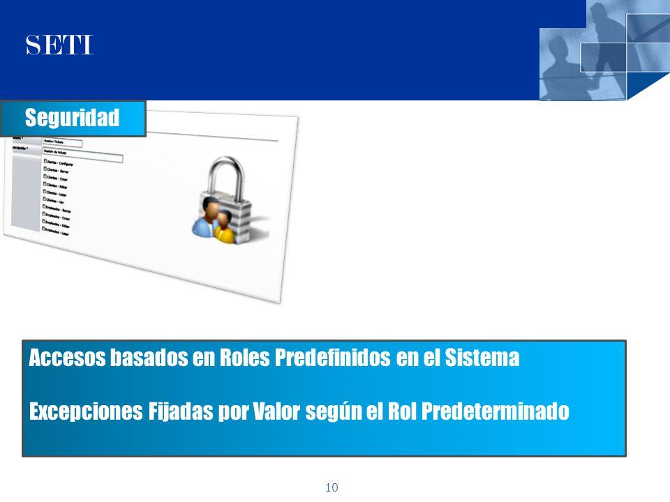 10 SETI Seguridad Accesos basados en Roles Predefinidos en el Sistema Excepciones Fijadas por Valor según el Rol Predeterminado